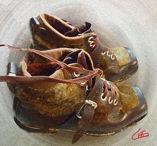 Old Ancient Ski Shoes .Photography and Paint Colette H. Guggenheim
