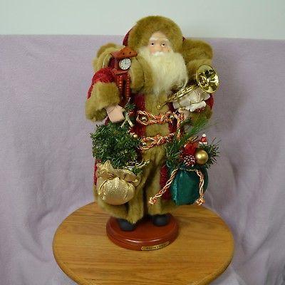 "1999 Collector's Edition Grandeur Noel 16"" Fabric Santa In Faux Fur Lined Coat"