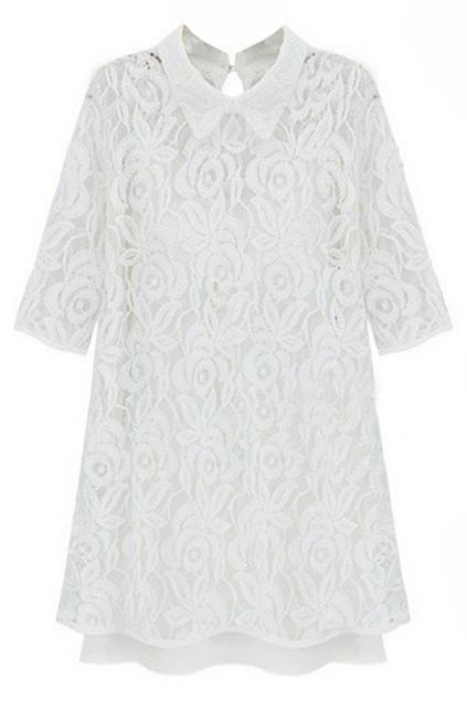 ROMWE | Floral Lace Overlay White Dress, The Latest Street Fashion#RomwePartyDress