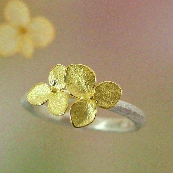Anillo de flor hortensia, amontonamiento de anillo, anillo de plata esterlina, rama, hoja, joyería botánica, 18 k flores, hecho a la medida