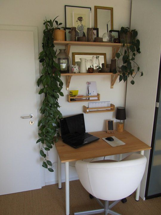 Yes, You Can Fit A Home Office Into Your Tiny Home.  Inspiration for a bedroom desk and shelves