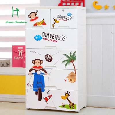 Plastic drawer cabinets cartoon children wardrobe lockers baby clothes cabinet box drawers