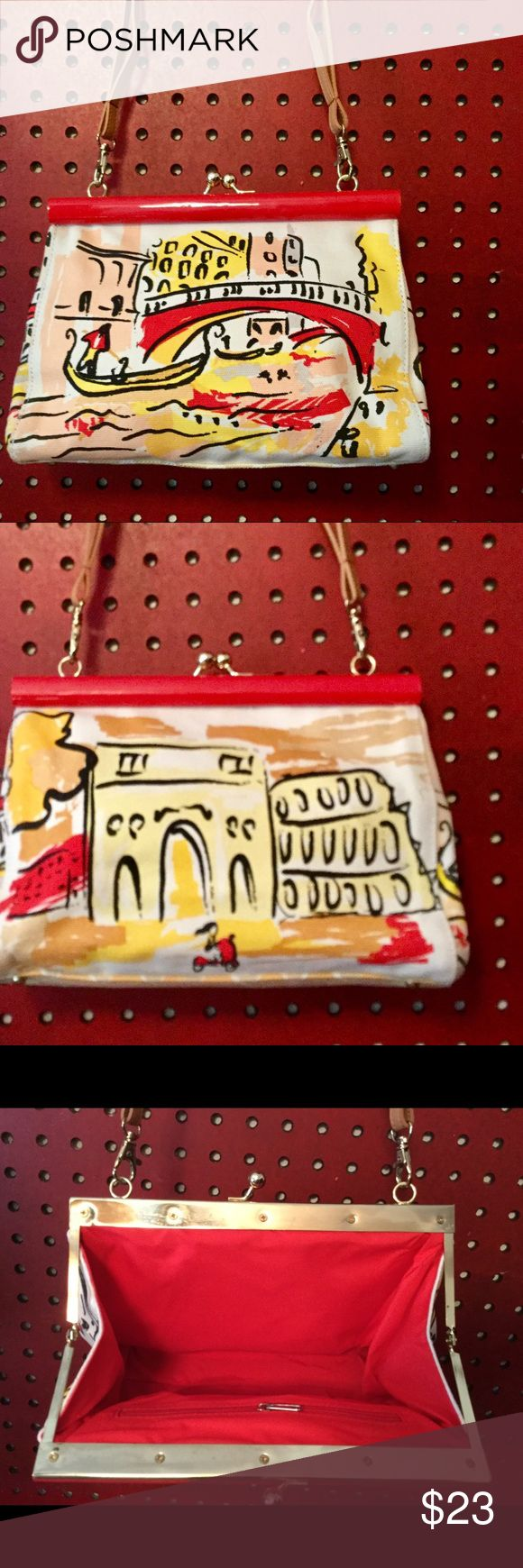 Hand painted canvas bag Vintage style hand painted canvas clutch bag with shoulder straps and snap closure. Retro scene of Rome on front and back. Adorable! NWOT Bags Mini Bags