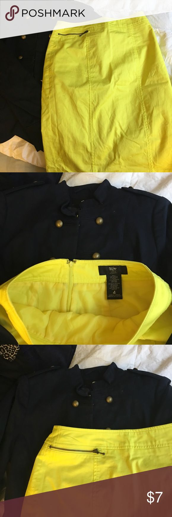 Mossimo neon yellow skirt Neon skirt..size 4 from Mossimo.. this skirt has a zipper on the right side Mossimo Supply Co. Skirts Pencil