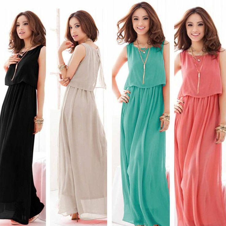 Beach Women Lady BOHO Maxi Dress Chiffon Sleeveless Draped Summer Long Sundress #Dress #Fashion #Deal
