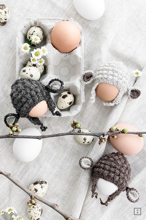 Eierwärmer häkeln Schafe Osterlamm für Ostern