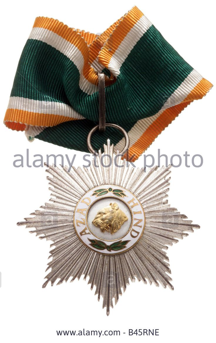 decorations, Germany, order Azad Hind for members of the Tiger Legion 1941 - 1945, 1st class, Second World War, decoration, hist Stock Photo