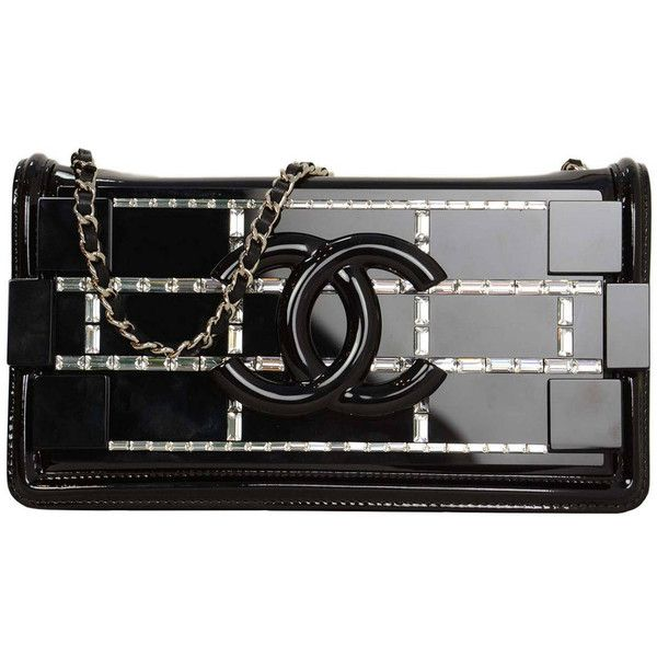 CHANEL 2015 Black Enamel Lego Brick Bag w/Crystals (20.530 BRL) ❤ liked on Polyvore featuring bags, handbags, clutches, chanel bag, black clutches, chanel clutches, chanel, chanel pochette and black handbags