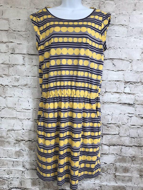 Boden Sz 10 US Modal Cotton Gray Yellow Navy Elastic Waist Dress | eBay