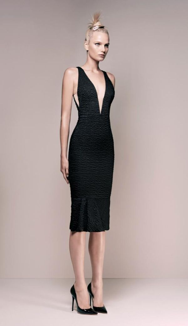 Alex Perry - Mirabelle Cloque V Pencil Dress - Black