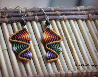 Fiber dangle earrings BEIGE & BROWN RAINBOW with natural seeds
