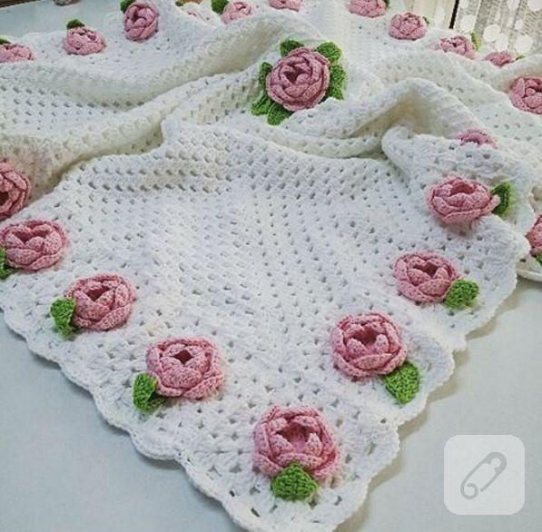 Knitting blanket // güllü örgü battaniye