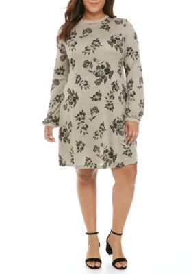 Living Doll Girls' Long Sleeve Swing Printed Hacci Dress - Taupe/Black - 2X