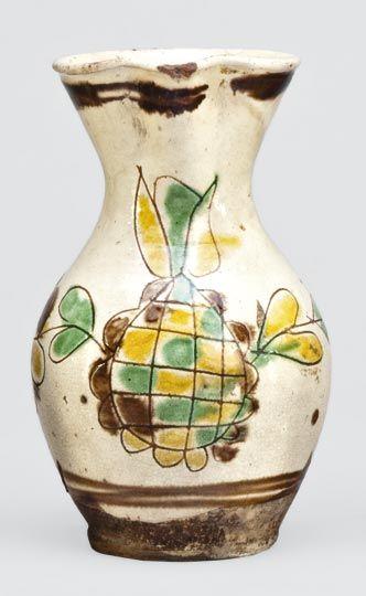 Hungarian pitcher from Kézdivásárhely (Sekler-Neumarkt, Neoforum Siculorum, Târgu Secuiesc), Transylvania, Szeklerland, Kingdom of Hungary, circa 1840. Nagyhazi Gallery auction.