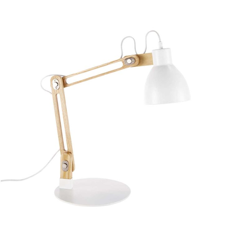 Maison du monde Lampe orientable en métal et bois blanche H 58 cm VASSILI Dimensions (cm) : H 58 x L 50 x PR 24  89,99 €