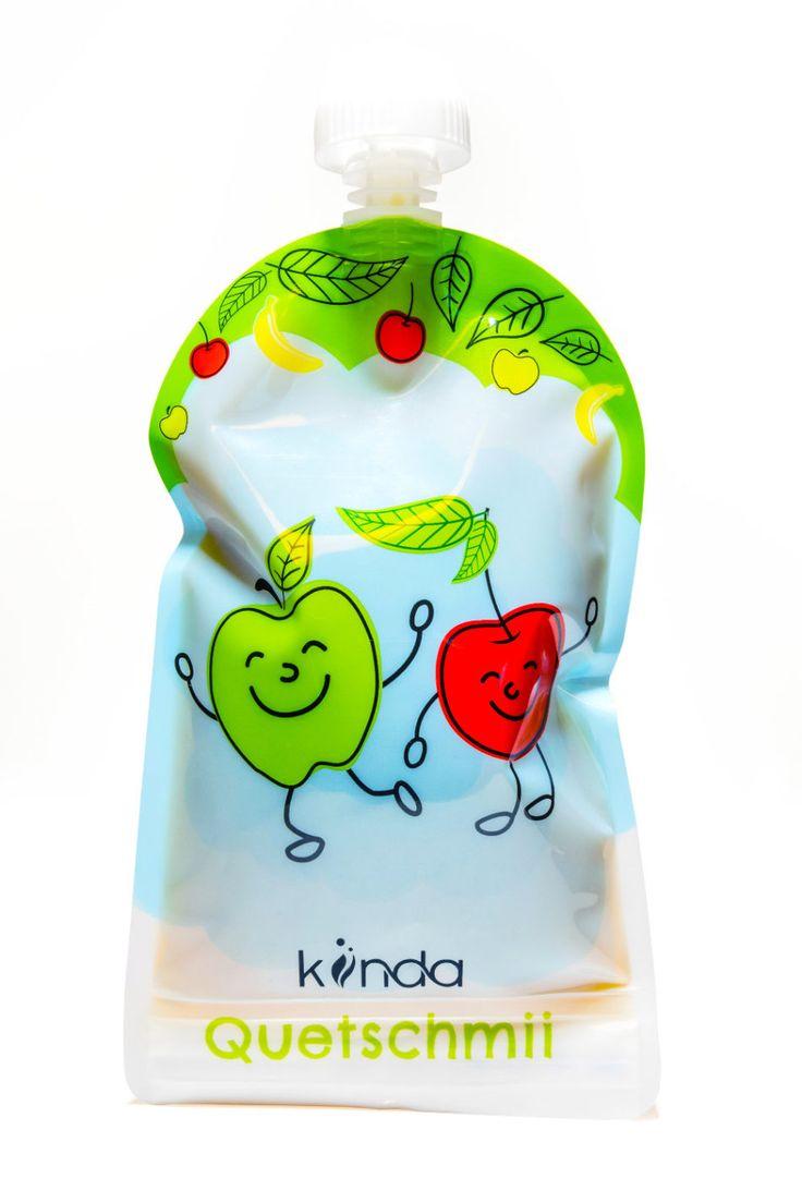 Quetschbeutel wiederverwendbar 6er Pack BPA frei | einfach zu befüllen & reinigen | ideal für Smoothie,Brei,Yoghurt | Gefrierschrank Geschirrspüler geeignet | 175 ml