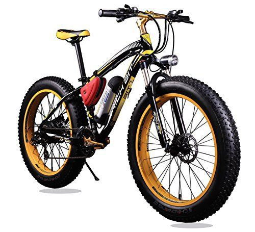 New Updated 21 Gears Yellow Black TP12 36v X 350 Watt Lithium Battery Electric Mountain Bicycle Shimano Snow Bike Electric Bike Fat Bike - http://www.bicyclestoredirect.com/new-updated-21-gears-yellow-black-tp12-36v-x-350-watt-lithium-battery-electric-mountain-bicycle-shimano-snow-bike-electric-bike-fat-bike/