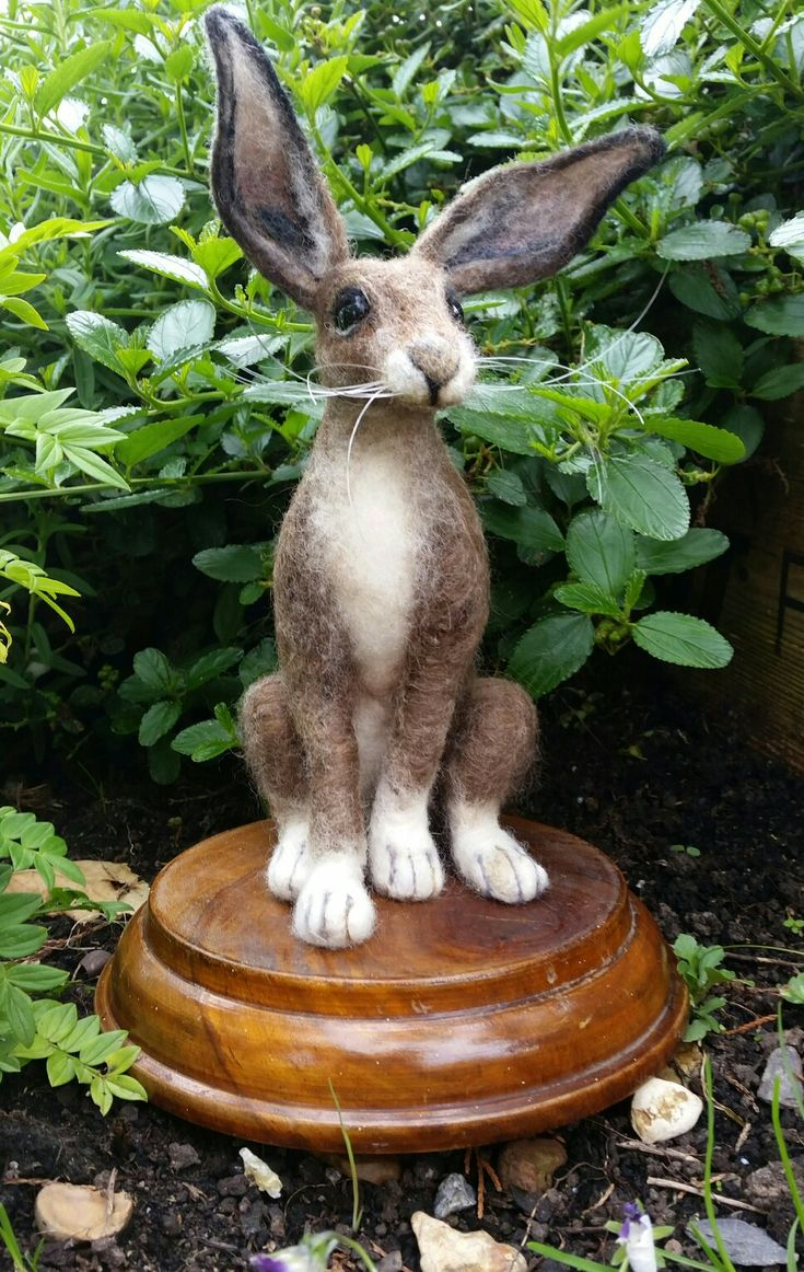 Needle felted Hare on recycled plinth by Eileen Williams of Littlecrafts Needle Felting