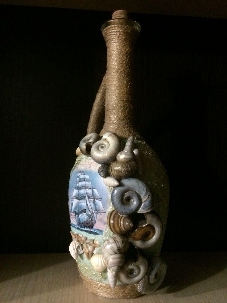 Бутылка в морском стиле! Декор натуральными ракушками