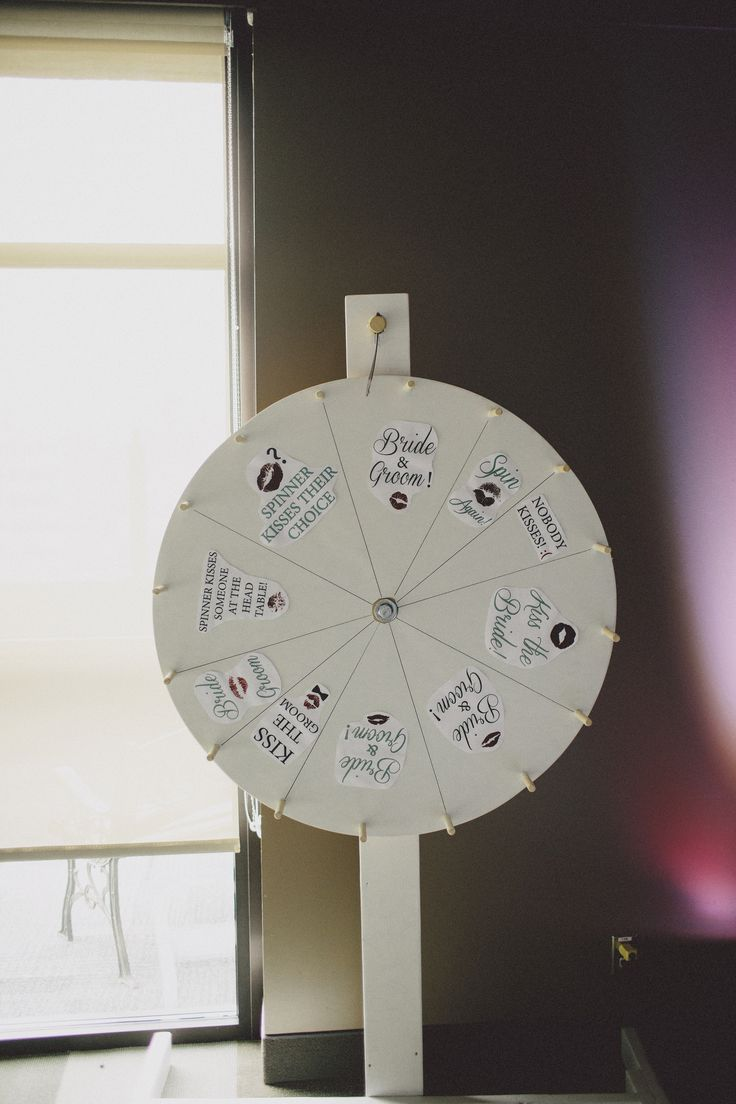Kissing game was a homemade wedding 'wheel' - spin to win!
