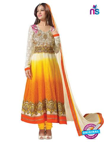 NS 12424 Yellow, Orange, White, Embroidered Georgette Party Wear Anarkali Suit