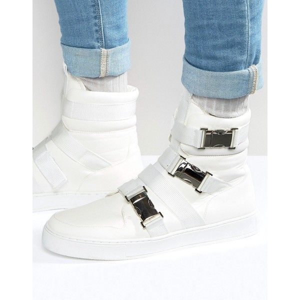ASOS High Top Sneakers In White With Buckle Straps ($58) ❤ liked on Polyvore featuring men's fashion, men's shoes, men's sneakers, white, mens white high top sneakers, mens high top sneakers, mens white shoes, asos mens shoes and mens white sneakers