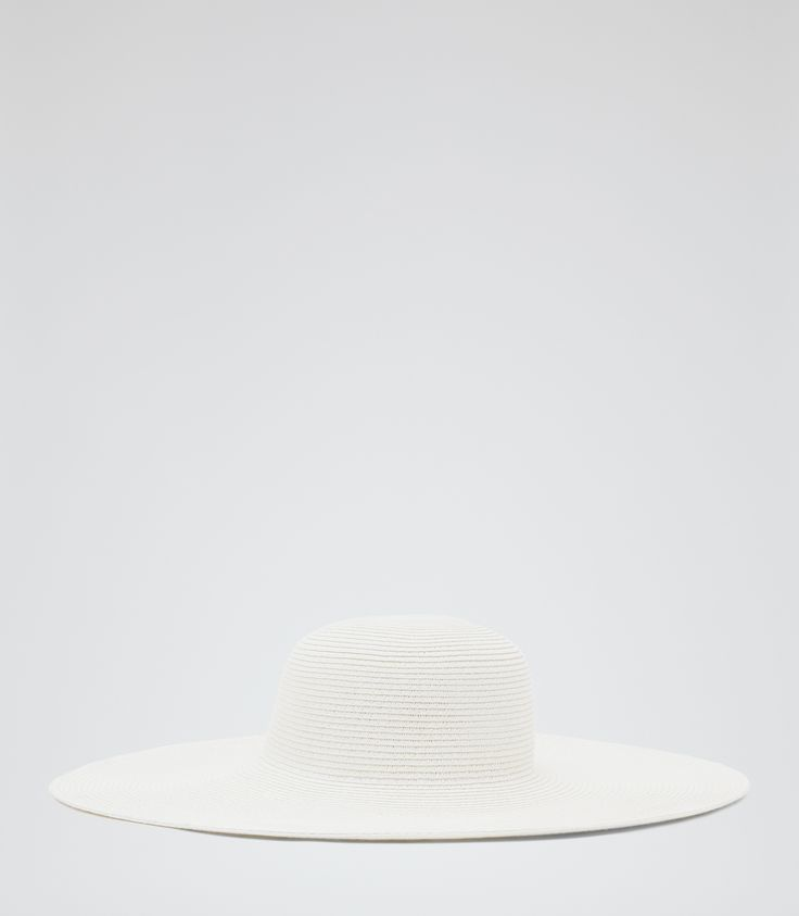 Womens Cream Textured Oversized Hat - Reiss Jean