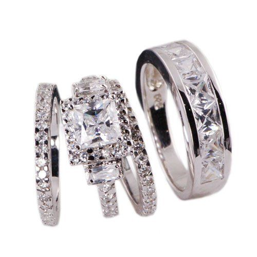 925 Sterling Silver 4pc Princess Cut His and Hers Brilliant Cz Engagement Wedding Ring Size Size 4-13 $124.99