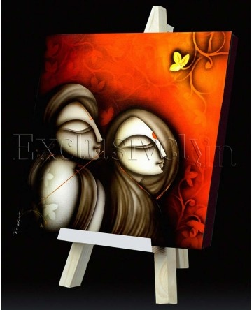 Limited Edition 'Two Portrait with Flute' Painting with  Orange Backdrop