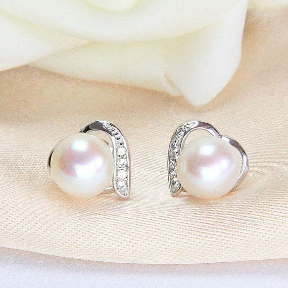 bridal jewelry earrings pearl,cheap earring studs pearl,cubic zirconia earrings,heart earrings,contemporary pearl earrings,girls earrings on Etsy, $13.00