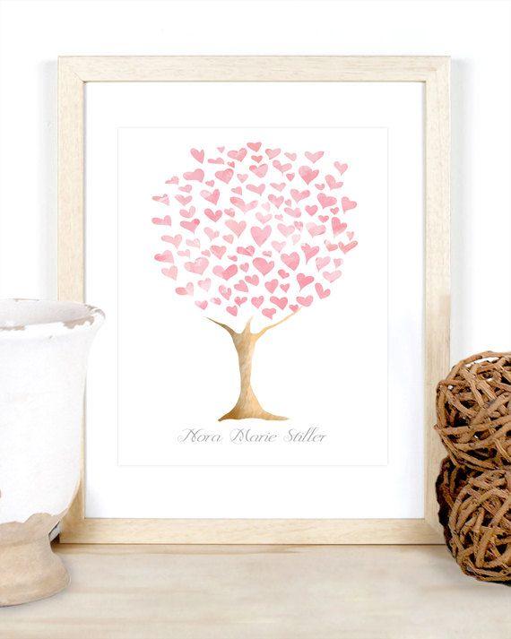 Druckversion - Babymädchen personifizierten Name Herz Stammbaum Aquarell Wand Kunst Druck Kinderzimmer Zimmer Baby Dusche neue Mutter Geschenk blass rosa Digital