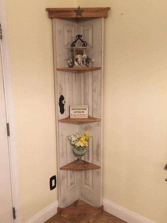 Custom old door corner accent shelf, bookcase, country home decor, vintage cabinet,