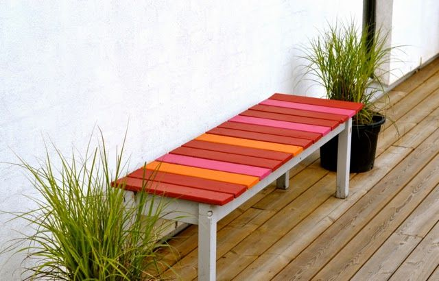 Colorful hand painted bench.