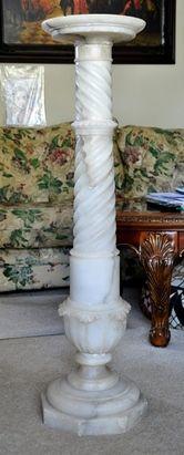 White Carrara marble Victorian pedestal with flute…