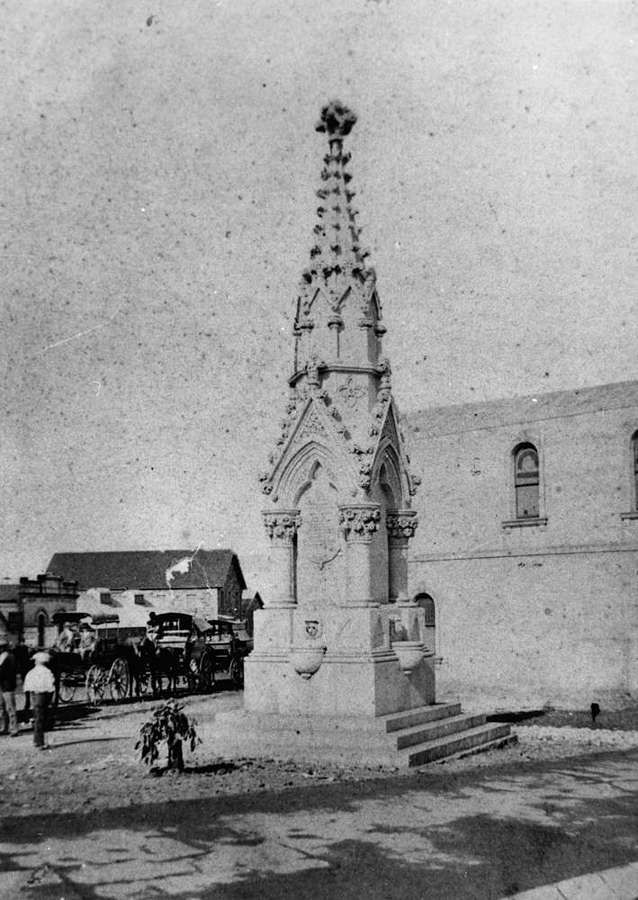 Mooney Memorial Fountain, Brisbane, 1879 - The fountain at the corner of Queen and Eagle Streets was erected by the Brisbane City Council in 1879 as a drinking fountain. It had no association with the monument to James Thomas Mooney, a fireman, who was killed on March 25, 1877, neither has it any association with the victims of a gun accident in the Botanic Gardens.