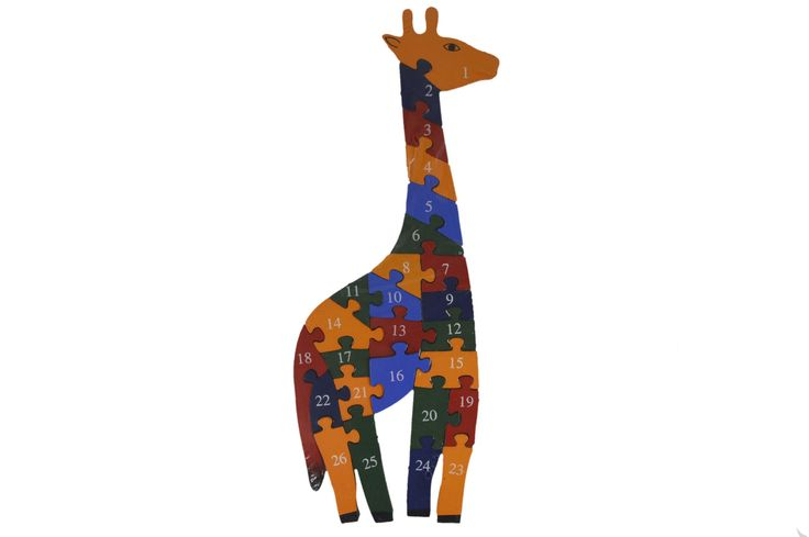 Cute Giraffe Shape Wooden Educational Jigsaw Puzzle Toy Wood Montessori Assemble Toys For Baby Kids