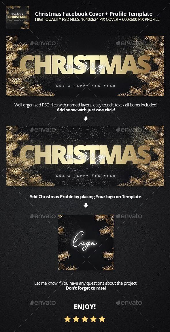 Golden Christmas Facebook Cover Profile Template Graphicriver