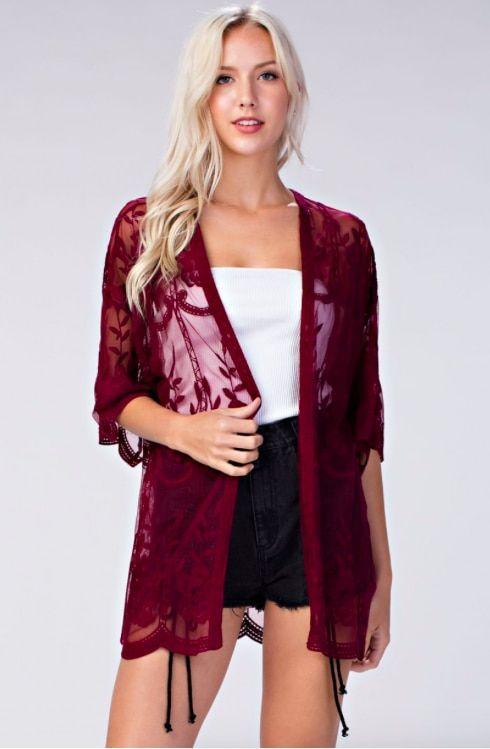 cf527733e Endless Lace Maroon Sheer Kimono | The New Boho | Lace kimono ...