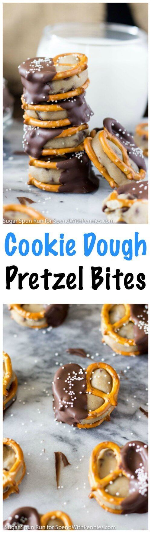 Easy Cookie Dough Pretzel Bites -- What a perfect sweet & salty combo! These amazing no bake treats are made with egg-free cookie dough and dipped in dark chocolate!
