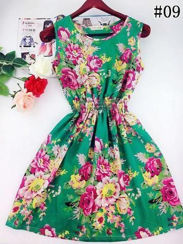 Floral Beach Dress (Green) - Medium