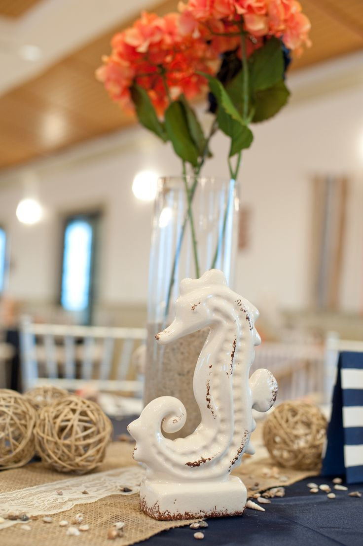 Centerpiece Coral And Navy Lace Burlap Runner Seahorse Hydrangeas