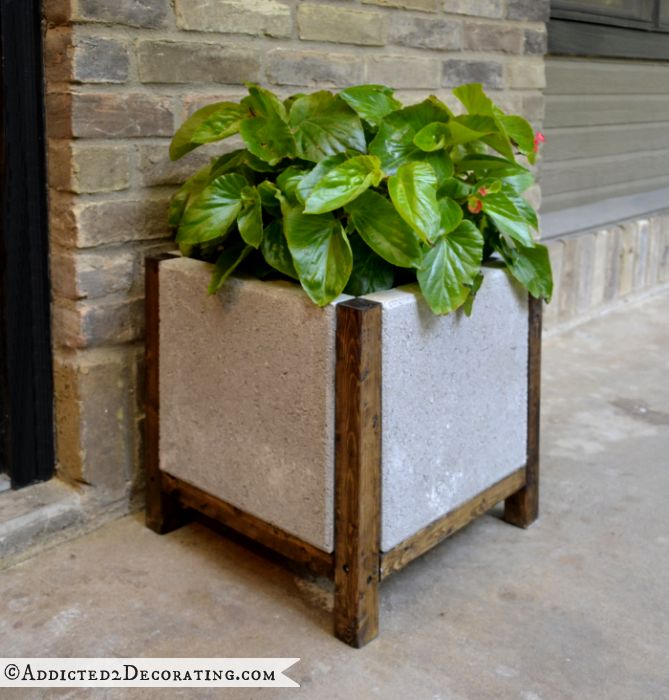 wood and concrete planter - 7
