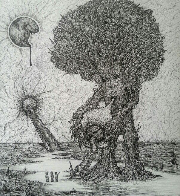 'The Tree Ent's Invitation' Pen & Ink by Eli Evangelidis