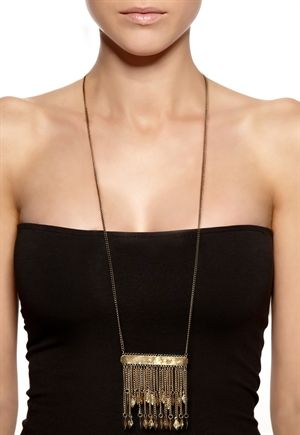 Lara Ethnics Long Indian Necklace Golden