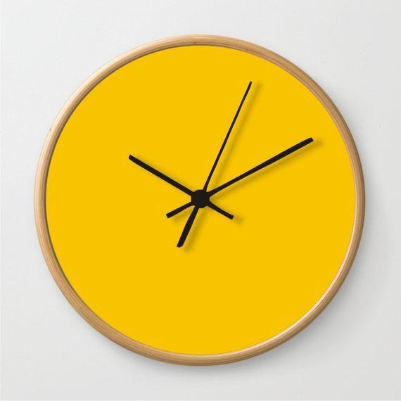Mustard Yellow Wall Clock Solid Color Clock Large Housewares Clock Etsymktgtool Wallclock Clock Yellow Wall Clocks Mustard Yellow Walls Minimalist Clocks