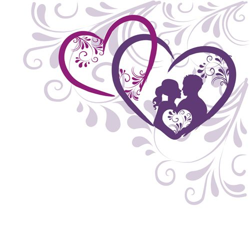 Elegant heart with floral background vector 05
