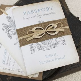 The booklet-style Passport wedding invitation is perfect for including all of your destination details. The cover of this Ireland Passport Wedding Invitation features the Irish crest with your wedding location below.