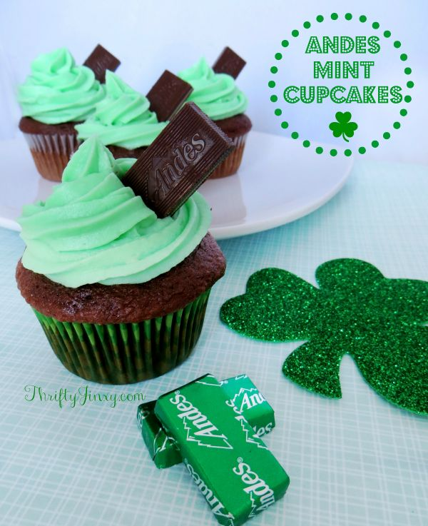 Andes Mint Cupcakes and Rainbow Pancake Cookies Recipe and St. Patrick's Day Food Ideas for Kids and Adults. St Patricks Day Recipes. Party Food Ideas. St Pattricks Day Ideas. Cupcake Recipe.
