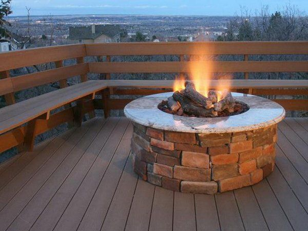 Diy Propane Fire Pit Brick Concrete Patio Design Ideas Patio Deck Fire Pit