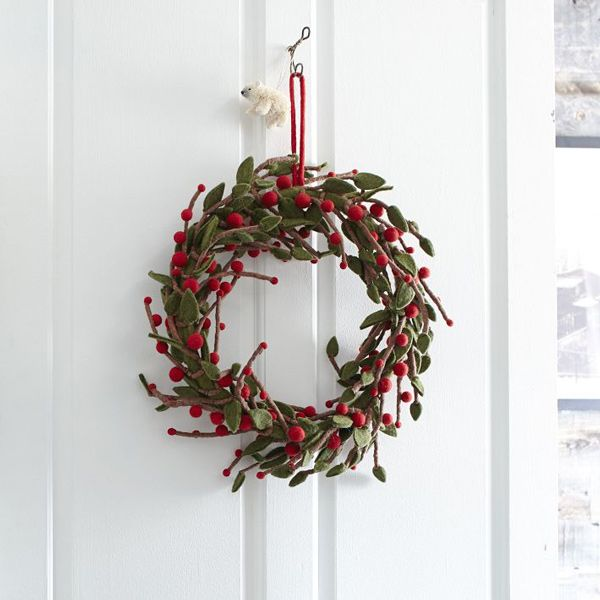 west elm felt handcrafted: Felt Ball Wreath, Felt Mistletoe, Xmas, Wreath Westelm I, Holidays, Products, Wreaths, West Elm